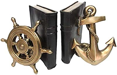 Pacific Giftware Rustic Nautical Ship Wheel and Anchor Decorative Bookends Set 7 Inch Tall