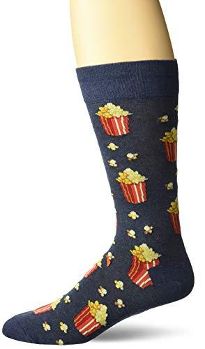 Hot Sox Men's Food and Booze Novelty Casual Crew Socks, Popcorn (Denim Heather), Shoe Size: 6-12