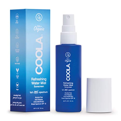 COOLA Organic Refreshing Water Mist Face Sunscreen, Full Spectrum Skin Care with Coconut & Aloe Water, Broad Spectrum SPF 18, Travel Size, 0.85 Fl Oz