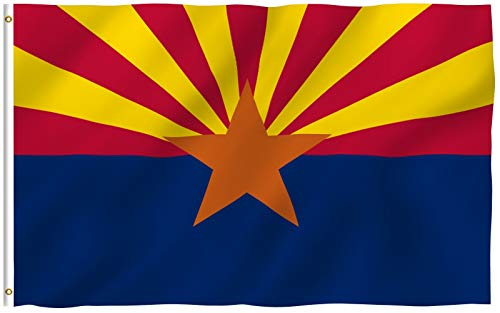 Anley Fly Breeze 3x5 Foot Arizona State Polyester Flag - Vivid Color and Fade Proof - Canvas Header and Double Stitched - Arizona AZ State Flags with Brass Grommets 3 X 5 Ft
