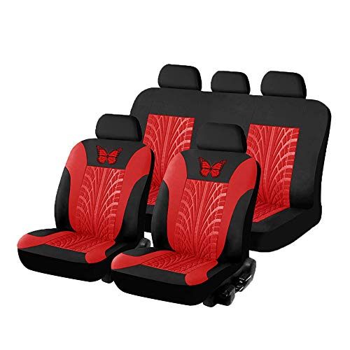 Carrfan Car Seat Cover Full Set, Red Universal Butterfly Pattern Embroidery Auto Seat Cover Set