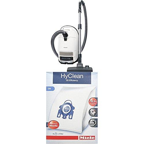 Miele S 8340 PowerLine Staubsauger, 4.5 L, 890 W + 9917730 Staubbeutel HyClean 3D, Inhalt: 4 Staubbeutel , 1 Air Clean Abluftfilter für saubere Raumlauft, 1 Motorschutzfilter, weiß