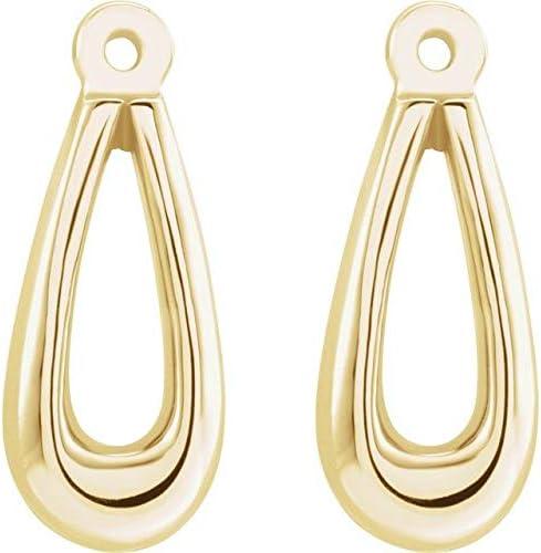 14K Yellow Gold Earring Jackets Teardrop Earring Jackets