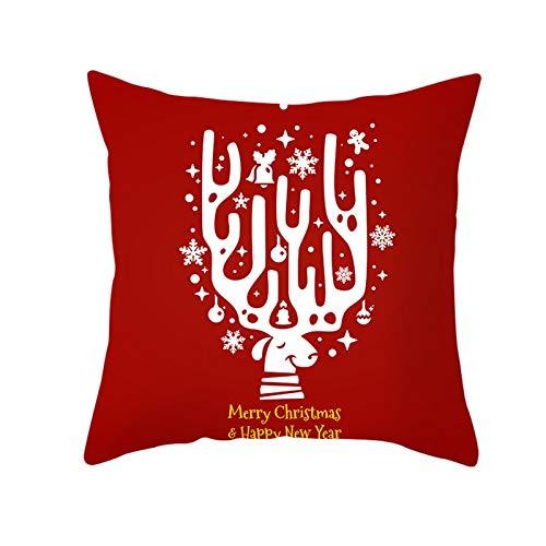 Beydodo Fundas Grandes Cojin Navidad,1 Pieza de Fundas de Cojines Fundas para Cojines 40X40,Ciervo con Asta de Ciervo y Copos de Nieve Rojo Blanco