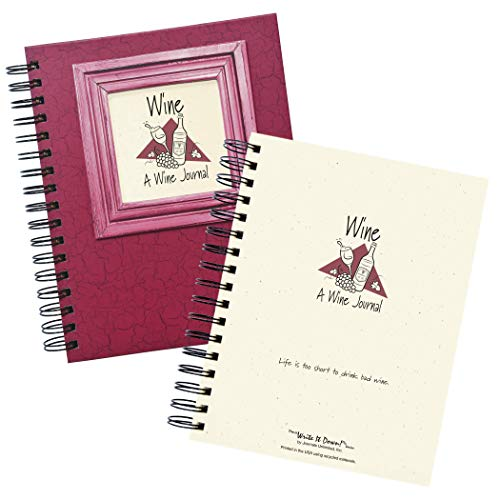 "Journals Unlimited""Write it Down!"" Series Guided Journal, Wine, A Wine Journal, with a Cranberry Hard Cover, Made of Recycled Materials, 7.5""x9"""