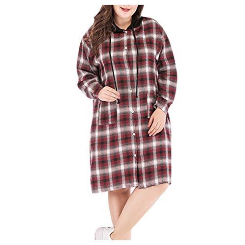 JXQ-N Damen Freizeit Karierte Bluse Langarm Oversize Hemd Button Longshirt Cardigan Top Plus Size Hemdkleid Shirtkleid Blusenkleid Karo Kleid Mit Kapuze