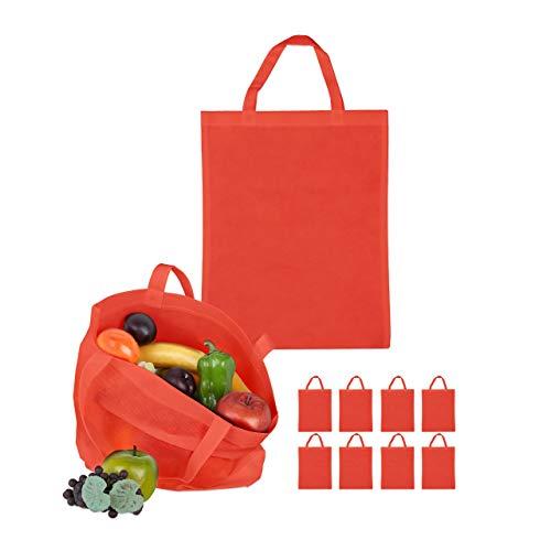 Relaxdays Stoffbeutel 10er Set, unbedruckt, zum Einkaufen, kurze Henkel, große Einkaufsbeutel H x B: 49,5 x 40 cm, rot