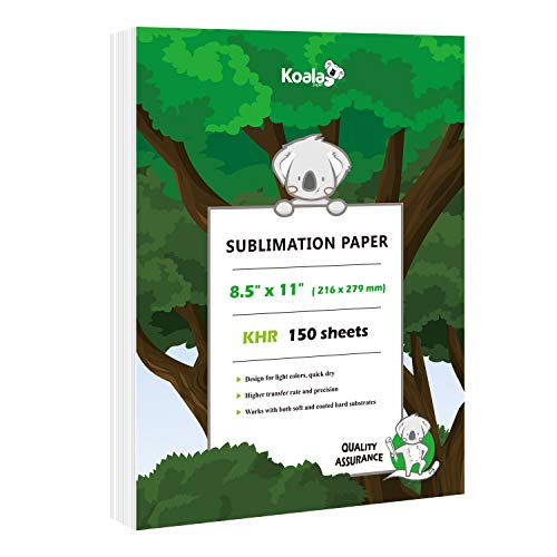 Koala 150 sheets Sublimation Paper 8.5X11 Inches for Heat Transfer DIY gift compatible with Inkjet Printer with Sublimation Ink