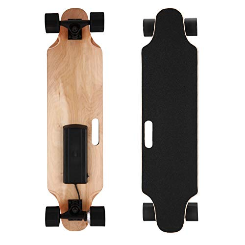 OppsDecor Electric Skateboard Youth Electric Longboard with Wireless Remote Control, 7 Layers Maple Longboard, 12 MPH Top Speed, 10 Miles Range(US Stock) (Black)