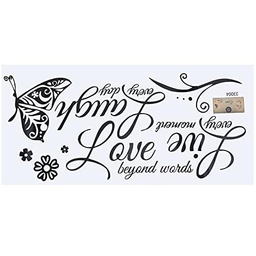 AILANDA Pegatinas de Pared Citas Pegatinas de Pared Motivacionales Live Love Laugh Mariposas Pegatinas Para el Hogar Dormitorio Sala de Estar 50 x 25 cm