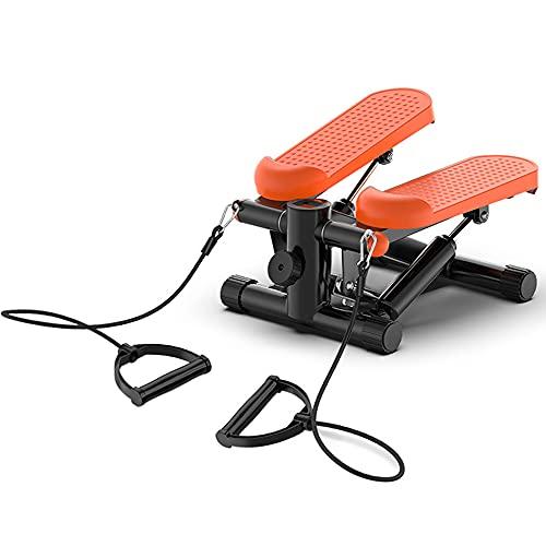 LJFZDB Stepper Aptitud del Ejercicio Mini Paso a Paso, Swing Stepper con Cables de Resistencia y Pantalla LCD Equipo de Gimnasio en casa para Principiantes y usuarios avanzados(Color:Naranja)