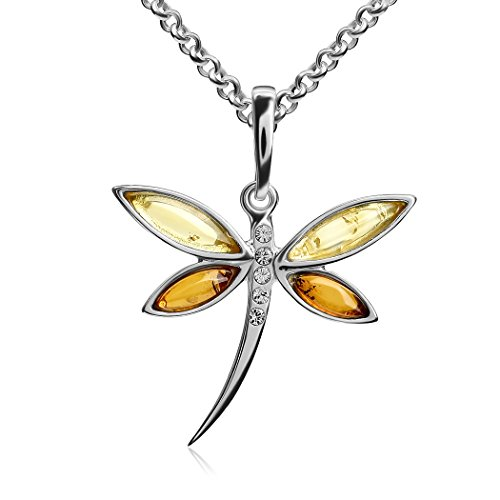 Multicolor Amber Sterling Silver Dragonfly Pendant Necklace Chain 18