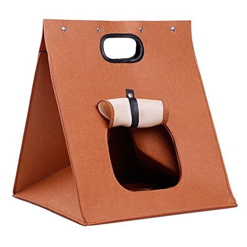 Shufeivicc Portátil extraíble Lavable Plegable litera Perro Fieltro Portador Bolsa (marrón) (Color : Brown)