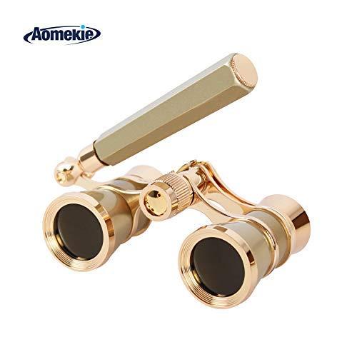 Aomekie Opera Glasses Binoculars 3X25 TheaterGlasses Mini Binocular Compact with Handle for Adults Kids Women in Musical Concert(Gold)