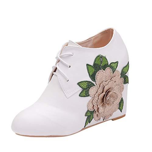 Oksea Damen Satin Spitze Blockabtz Ankle Stiefelette Hochzeit Bequeme Brautstiefel Fabulicious Stiefel Blume Ankle Booties mit Spitze Victorian