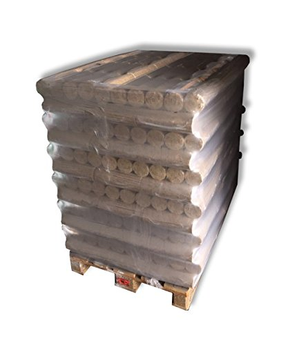 1 Palette 96 Pack Holzbriketts rund ohne Loch á 10kg Brennholz Briketts - aus reinem Nadelholz - ohne Verwendung von Bindemitteln