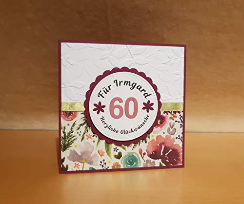 Geburtstagskarte, Glückwunschkarte, Karte zum Geburtstag, Name u. Zahl personalisierbar, Handarbeit