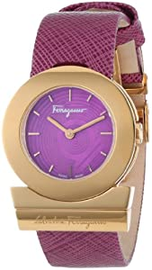 Salvatore Ferragamo Women's FP5030013 'Gancino' Rose Gold Ion-Plated Watch with Saffiano Leather Strap image