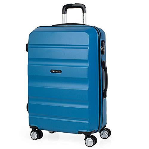 ITACA - Maleta de Viaje rígida 4 Ruedas Trolley 67 cm Mediana de abs Lisa. Dura y Ligera. candado Bonito diseño. Estudiante y Profesional. t71660, Color Azul