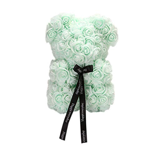 Rose Flower Bear,10 inch Artificial Rose Love Romantic for Christmas, Graduation, Valentine's Day, Mother's Day, Anniversary, Birthday, Wedding Gift (Mint Green)