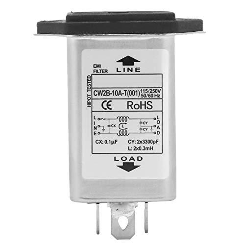 Filtro di alimentazione EMI, CW2B-10A-T (001) Filtro di alimentazione EMI con presa di fusibile 2 in 1, sicurezza unica 125 250 V