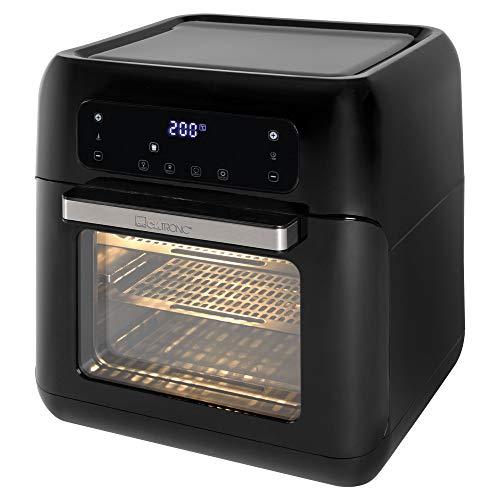 Clatronic FR 3747 H Heißluft-Fritteuse, vier Einschubhöhen für optimale Backergebnisse, öl- und fettfrei, 11 Liter, Sensor Touch-Bedienung, LED-Display, schwarz