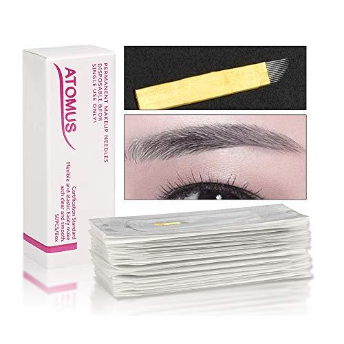 50 Stück Microblading Permanent Nadeln 3D Make-up Augenbraue Tattoo Needle Pen PCD 12 Pins Augenbrauen Kit …