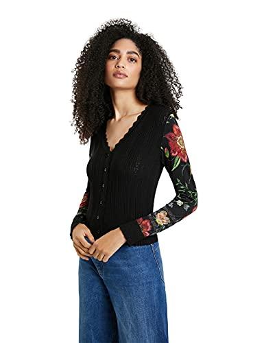 Desigual Womens JERS_Budapest Cardigan Sweater, Black, L