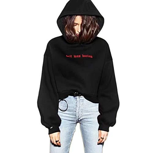 Schwarz Cropped Kapuzenpullover Damen Weiß Vintage Kapuzen Pullover Pulli Sweatshirt Hoodie Teenager Mädchen Oversize (Schwarz, Small)