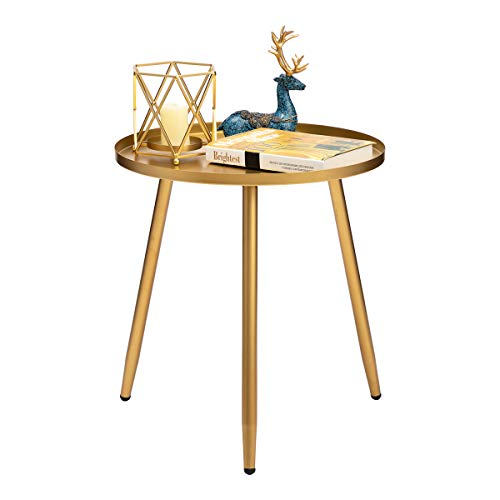 HollyHOME Accent Small Round End Table, Modern Metal Waterproof Outdoor&Indoor Side Table for Small Spaces, Contemporary Nightstand/Sofa Coffee Table, (H) 19.69' x (D) 18.11', Gold