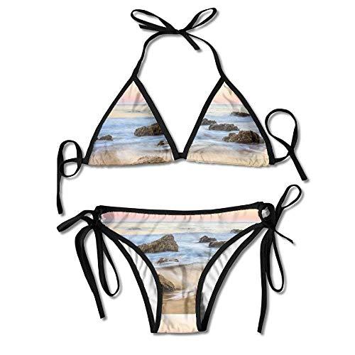 Malibu Beach Women's Tie Side Bottom Bikini Suits Two Pieces Swimwear