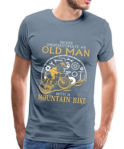 Never Underestimate an Old Man Mountain Bike Men's Premium T-Shirt, L, Steel Blue