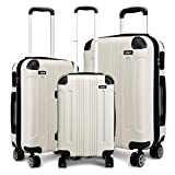 Kono 3pcs Luggage Sets Travel Trolley Case Hard Shell ABS Light Weight Suitcase with 4 Spinner Wheel Fashion Luggage for Business Holiday (White Set)