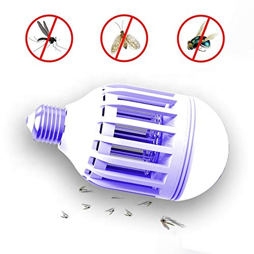 Boho Town 2 in 1 Bug Zapper - UV LED Light Bulb Mosquito Trap, Electronic Insect and Fly Killer Lamp for Both Outdoor and Indoor 3 Modes - CE and RoHS Certified