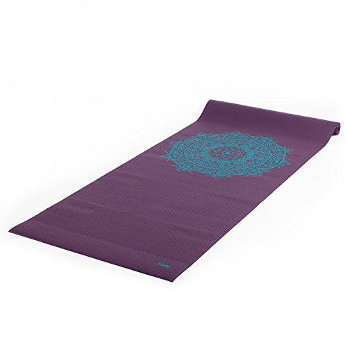 """Yogamatte der LEELA COLLECTION, PVC-Matte mit Öko-Tex, aubergine, bedruckt mit türkisem Design-Print """"MANDALA"""", Sticky Mat"""