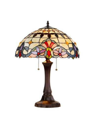 chloe lighting table lamps Chloe Lighting CH33313I16-TL Tiffany-Style Victorian 2-Light Table Lamp, 21.9