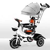 NBgycheche Triciclo Trike Triciclo para bebés - con Mango de Empuje Rueda de Goma Chica niña Juguete toldo 4-en-1 niños Trike Cochecito Steer Stroller Aprender Trike Empuje Trike 9 Meses - 6 años