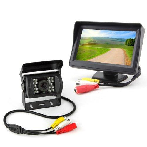 BW® 10,9 cm Voiture Vue arrière Moniteur TFT + Caméra de recul étanche pour Bus Camion