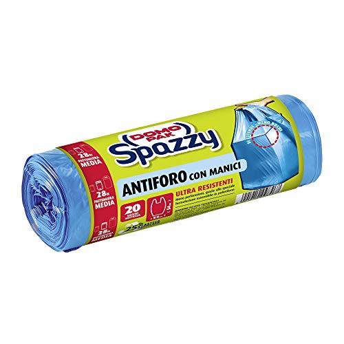Domopak Spazzy Sacchi Nettezza Antiforo con Manici - Casalingo 28 lt - Blu - 1 confezione da 20 pezzi