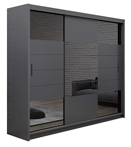 Furniture24_eu Kleiderschrank Schwebetürenschrank Schlafzimmerschrank Aruba II (Graphite, 250 cm Breit)