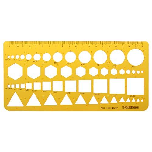 Wanfor K Harz Kreise Quadrate Dreieck geometrische Vorlage Lineal Schablone Messwerkzeug, Schule Produkt Werkzeug