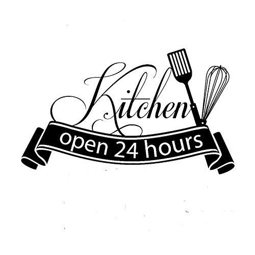 Etiqueta de la pared de la cocina abierta las 24 horas calcomanías de la pared de la cocina para la decoración del restaurante decoración de la tienda decoración del hogar A1 34x56cm