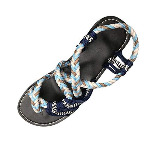 Fenverk Sandalen Damen Frauen Flip Flops Kreuzband Geflochtene Sandalen Roman Schuhe Sommer Woven Strap Mode Strand Hausschuhe Flacher Anti-Rutsch(Armeegrün,37 EU)