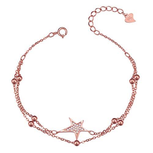 Caimeytie Mädchen Armbänder Stern Glitzer Sterling Silber Rosé-Vergoldung verstellbar