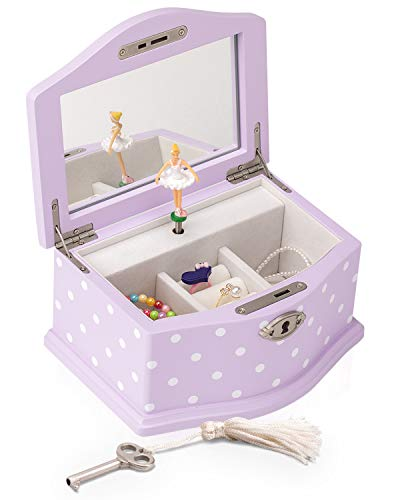 Art Lins Elle Ballerina Music Jewelry Box with Lock, Wooden Keepsake Box with Wind Up Music Swan Lake, Small (Lavender)