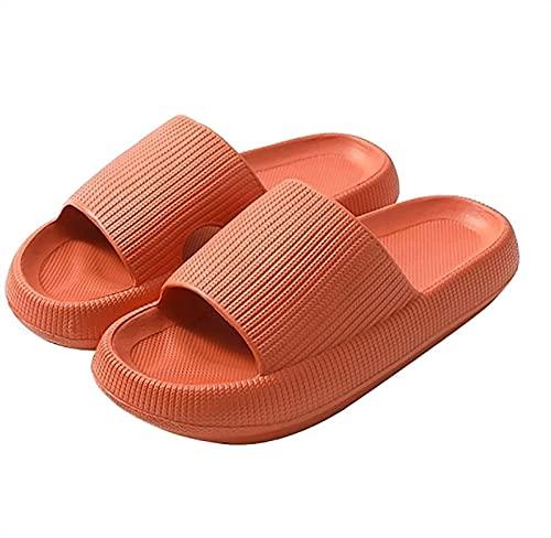 XiuLi Toboganes Mujer Hombre Zapatillas de Ducha Verano Playa Piscina Baño Antideslizante Zapatos de jardín (Color : Orange, Size : 9.5-10 Women/8.5-9 Men)