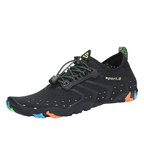 Whyeasy Bluestercool Chaussures d'eau Unisexes à Couple Séchage Rapide Printemps Été Piscine Plage Nager Plongée Shoes Chaussures Aquatiques(Noir,37)