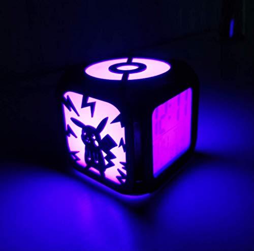 NULINULI Pikachu Kreative 3D-Stereo-Led Kleiner Wecker, 7-Farben-Nachtlicht Elektronische Uhr Im Kinderzimmer Und Schlafzimmer, Nachttisch 8.8Cm Schwarze Muschel B.