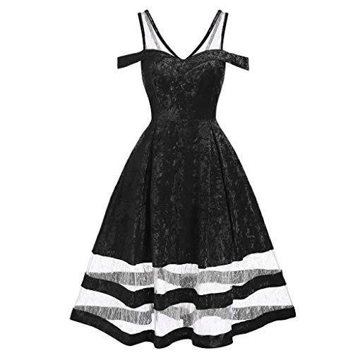 Xuthuly Frauen Klassische Elegante Spitze einfügen kalte Schulter Sling Samt Kleid Retro Plissee Swing Prom Partykleid