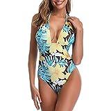 Tummy Control Swimwear Halter One Piece Swimsuit V Neck High Cut Ruched Bathing Suits Bikini (Yellow, S)